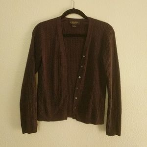 Purple Brooks Brothers silk and cashmere cardigan